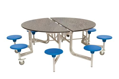 Spaceright Round Mobile Folding Secondary School Dining Table Grey Fleck with 8 Seats - 735mm High