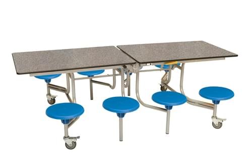 Spaceright 8 Eight Seat Rectangular Mobile Folding Primary School Dining Table - Grey Fleck