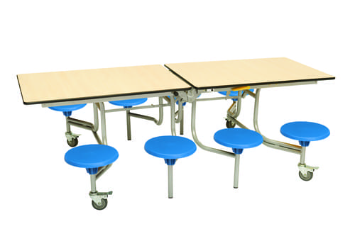 Spaceright 8 Eight Seat Rectangular Mobile Folding Secondary School Dining Table - Maple