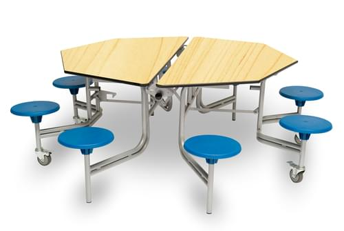 Spaceright 8 Seat Octagonal Mobile Folding Primary School Dining Table - Maple