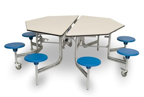 Spaceright 8 Seat Octagonal Mobile Folding Secondary School Dining Table - Grey Fleck