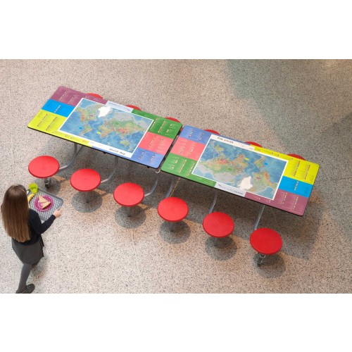 Spaceright 12 Seat World Map Smart Top Rectangular Folding Primary School Dining Table