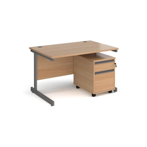 Contract 25 Straight Cantilever Desk with Mobile Pedestal