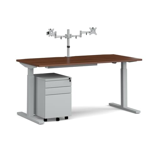 Elev8 Mono Height Adjustable Desk Bundle with Pedestal and Double Screen Arm