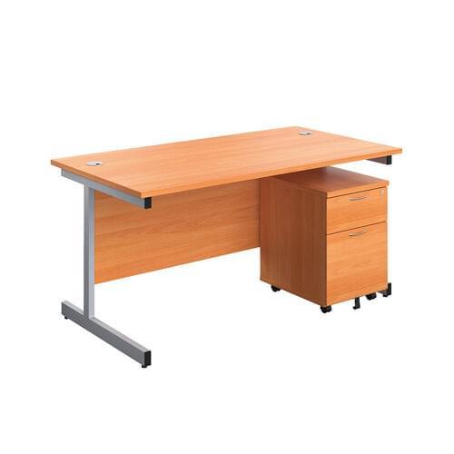 FF First Rectangular Desk with Mobile Pedestal
