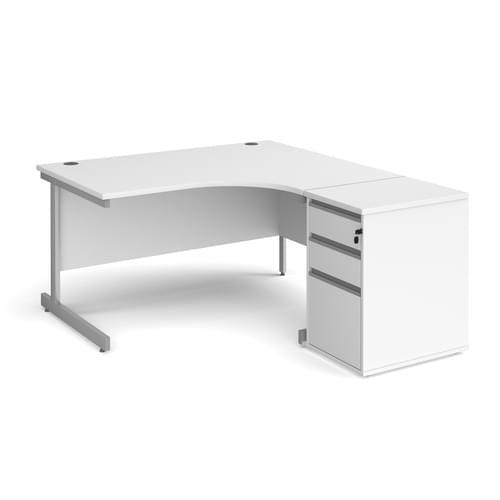 Contract 25 Cantilever Ergonomic Corner Desk with Desk High Pedestal