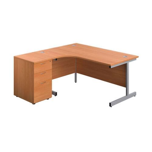 FF First Ergonomic Corner Desk with 3 Drawer Desk High Pedestal