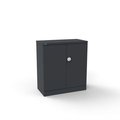 Silverline Kontrax 2 Door Cupboard with 1 Shelf - Flat Pack - Graphite Grey