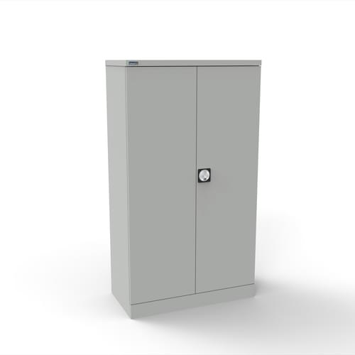 Silverline Kontrax 2 Door Cupboard with 2 Shelves - Pre-Assembled - Light Grey