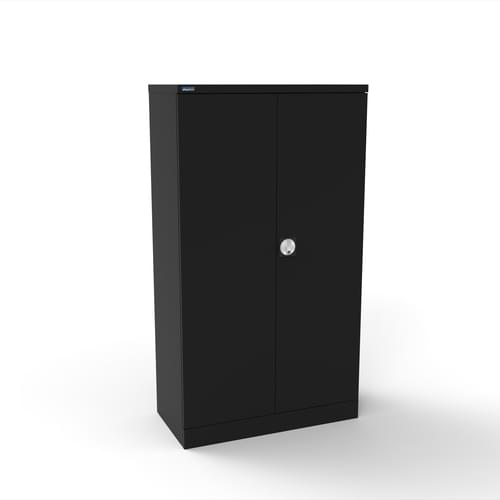 Silverline Kontrax 2 Door Cupboard with 2 Shelves - Pre-Assembled - Black