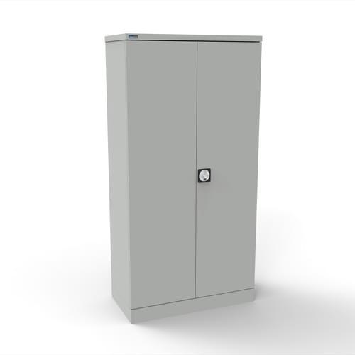 Silverline Kontrax 2 Door Cupboard with 3 Shelves - Pre-Assembled - Light Grey