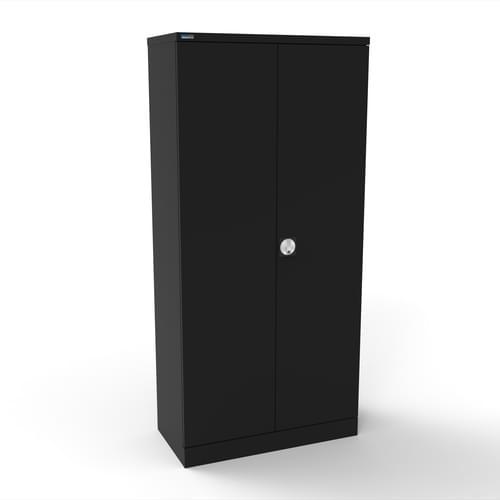 Silverline Kontrax 2 Door Cupboard with 4 Shelves - Pre-Assembled - Black
