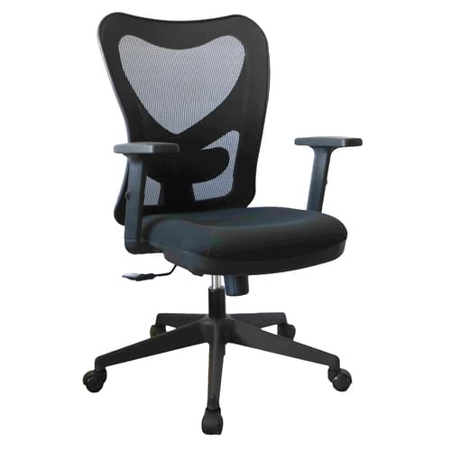 Ilkley High Back Mesh Operator Chair With Height Adjustable Arms - Black with Black Nylon Base