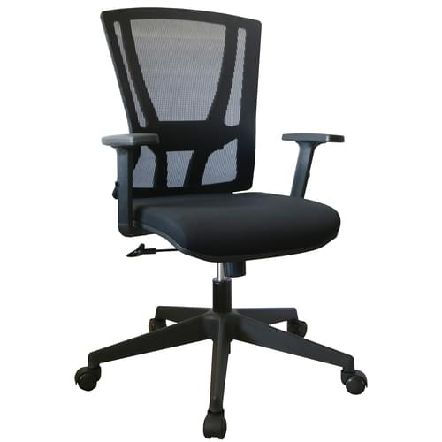 Holmfirth High Back Mesh Operator Chair With Height Adjustable Arms – Sliding Lumbar and Tilt Lock- Black