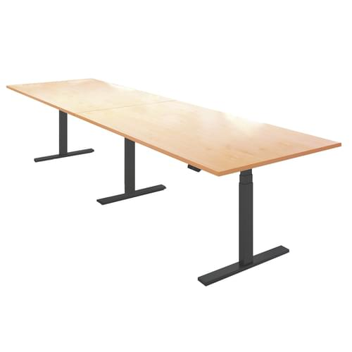 Elev8 Touch boardroom table 4000mm x 1000mm - black frame and beech top
