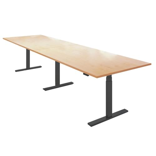 Elev8 Touch boardroom table 4000mm x 1000mm - black frame and oak top