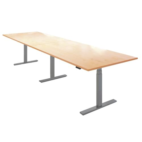Elev8 Touch boardroom table 4000mm x 1000mm - silver frame and beech top