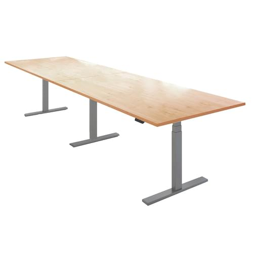 Elev8 Touch boardroom table 3600mm x 1000mm - silver frame and oak top