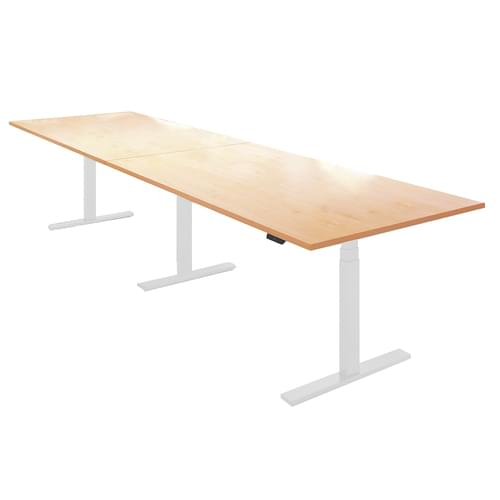 Elev8 Touch boardroom table 4000mm x 1000mm - white frame and beech top