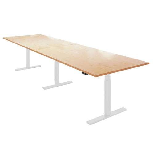 Elev8 Touch boardroom table 3600mm x 1000mm - white frame and oak top