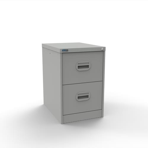 Silverline Kontrax 2 Drawer Elliptical Handle Foolscap Filing Cabinet - Light Grey