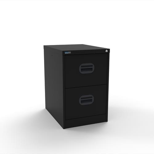 Silverline Kontrax 2 Drawer Elliptical Handle Foolscap Filing Cabinet - Black