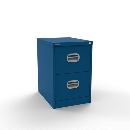 Silverline Kontrax 2 Drawer Elliptical Handle Foolscap Filing Cabinet - Blue