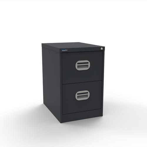 Silverline Kontrax 2 Drawer Elliptical Handle Foolscap Filing Cabinet - Graphite Grey