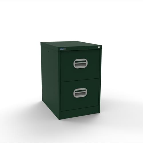 Silverline Kontrax 2 Drawer Elliptical Handle Foolscap Filing Cabinet - British Racing Green