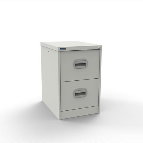 Silverline Kontrax 2 Drawer Elliptical Handle Foolscap Filing Cabinet - White