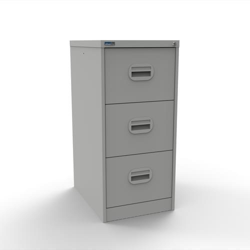 Silverline Kontrax 3 Drawer Elliptical Handle Foolscap Filing Cabinet - Light Grey