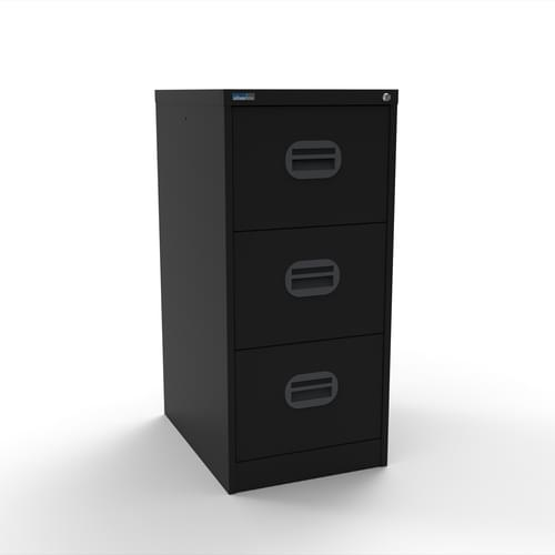 Silverline Kontrax 3 Drawer Elliptical Handle Foolscap Filing Cabinet - Black