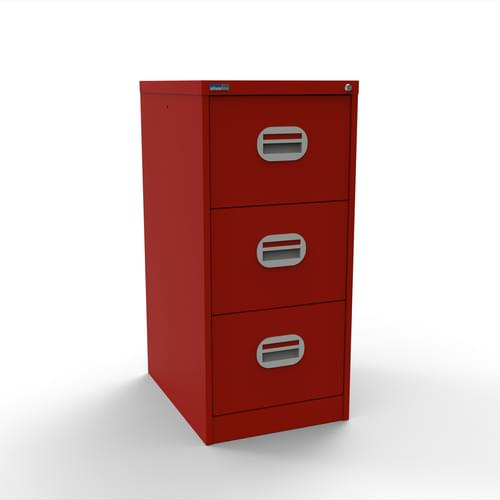 Silverline Kontrax 3 Drawer Elliptical Handle Foolscap Filing Cabinet - Red