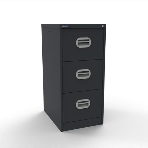 Silverline Kontrax 3 Drawer Elliptical Handle Foolscap Filing Cabinet - Graphite Grey