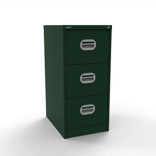 Silverline Kontrax 3 Drawer Elliptical Handle Foolscap Filing Cabinet - British Racing Green
