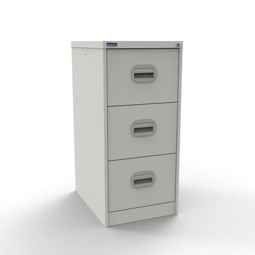 Silverline Kontrax 3 Drawer Elliptical Handle Foolscap Filing Cabinet - White
