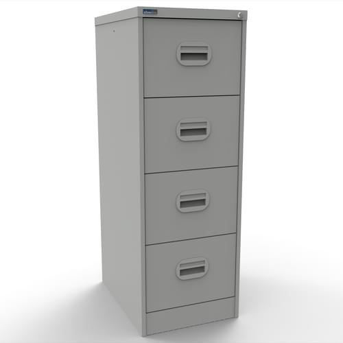 Silverline Kontrax 4 Drawer Elliptical Handle Foolscap Filing Cabinet - Light Grey