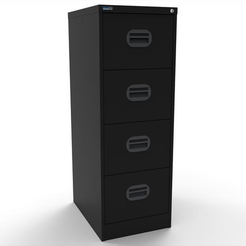 Silverline Kontrax 4 Drawer Elliptical Handle Foolscap Filing Cabinet - Black