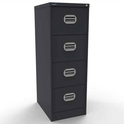 Silverline Kontrax 4 Drawer Elliptical Handle Foolscap Filing Cabinet - Graphite Grey