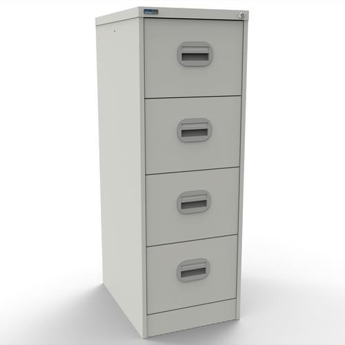 Silverline Kontrax 4 Drawer Elliptical Handle Foolscap Filing Cabinet - White