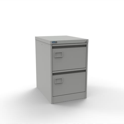 Silverline Executive 2 Drawer Individually Locking Foolscap Filing Cabinet - Light Grey