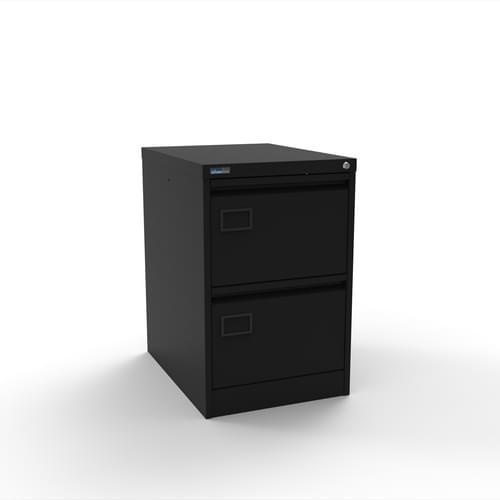 Silverline Executive 2 Drawer Individually Locking Foolscap Filing Cabinet - Black