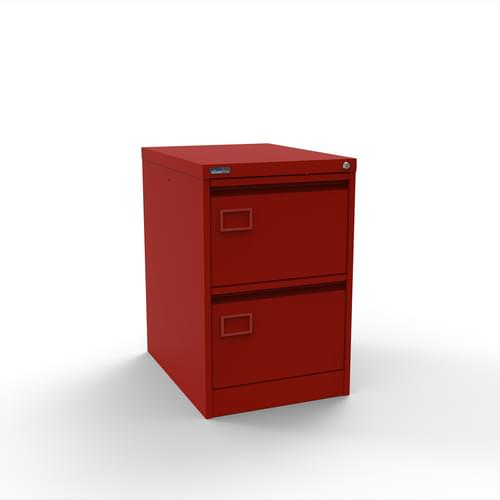 Silverline Executive 2 Drawer Individually Locking Foolscap Filing Cabinet - Red