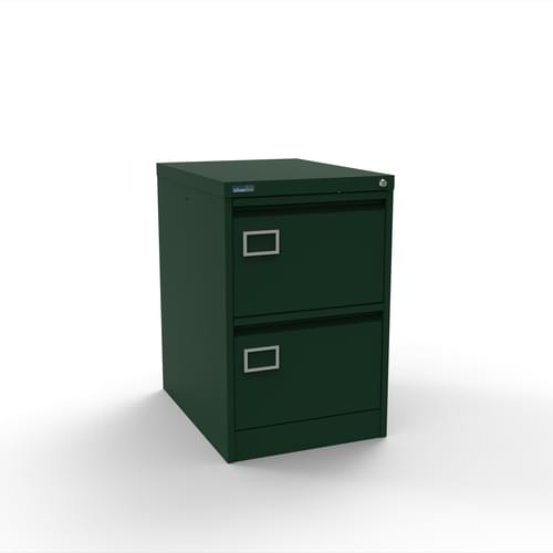Silverline Executive 2 Drawer Individually Locking Foolscap Filing Cabinet - British Racing Green