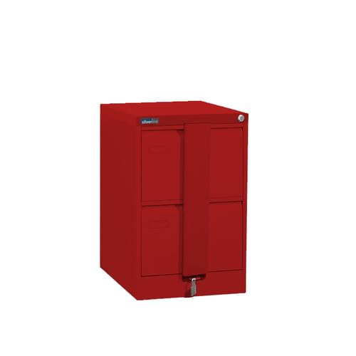 Silverline Executive 2 Drawer Foolscap Filing Cabinet with Security Bar - Red