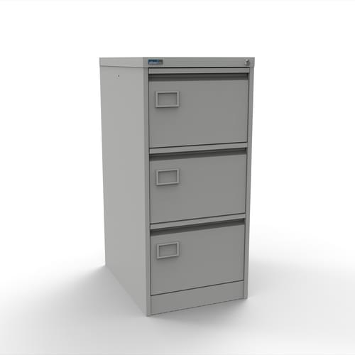 Silverline Executive 3 Drawer Individually Locking Foolscap Filing Cabinet - Light Grey