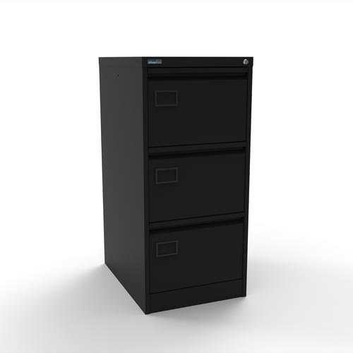 Silverline Executive 3 Drawer Individually Locking Foolscap Filing Cabinet - Black