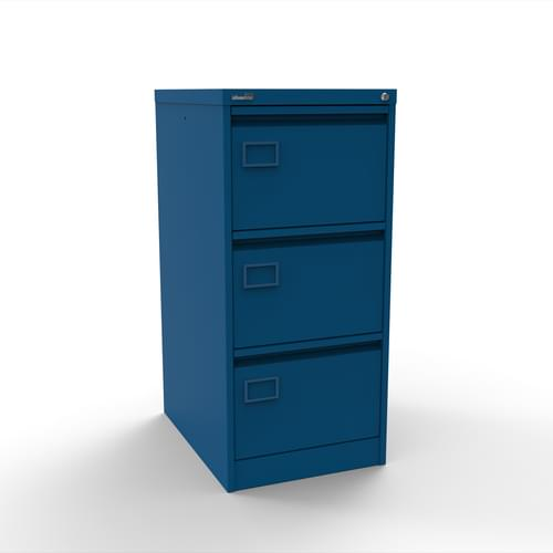 Silverline Executive 3 Drawer Individually Locking Foolscap Filing Cabinet - Blue