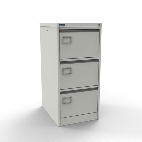 Silverline Executive 3 Drawer Individually Locking Foolscap Filing Cabinet - White