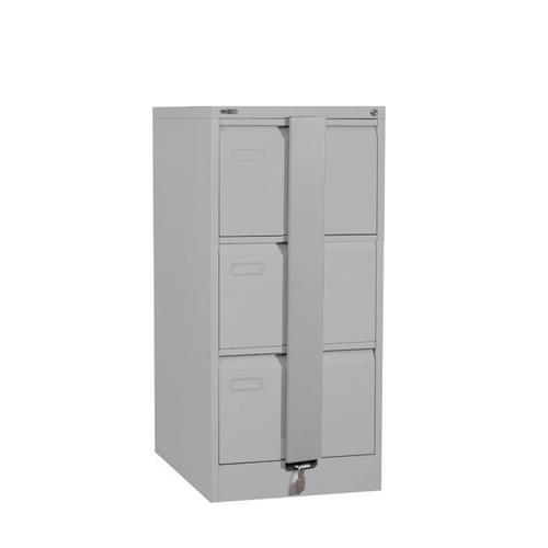 Silverline Executive 3 Drawer Foolscap Filing Cabinet with Security Bar - Light Grey